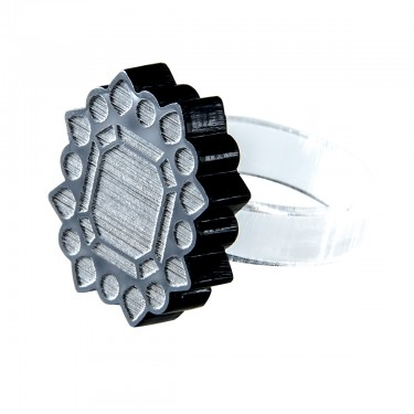 black engraved lucite ring GINA by possibility